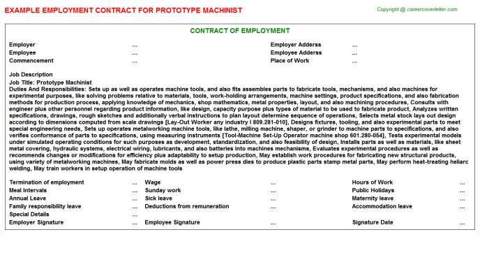 prototype machinist employment contract template