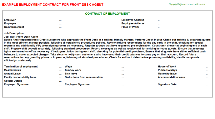 Front Desk Agent Employment Contract Template