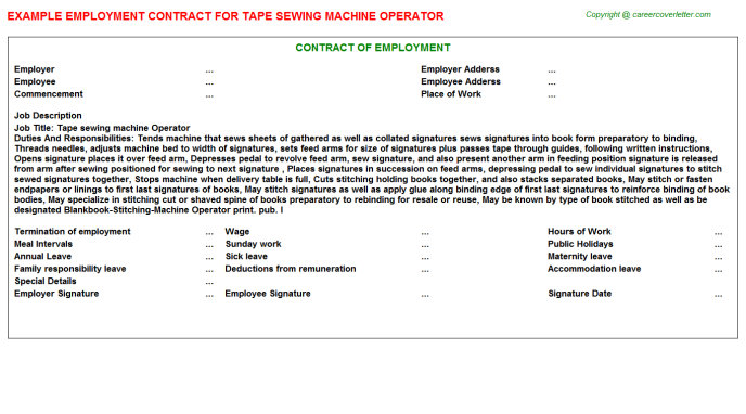 Tape sewing machine Operator Employment Contract Template