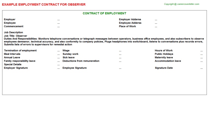 Observer Job Employment Contract Template