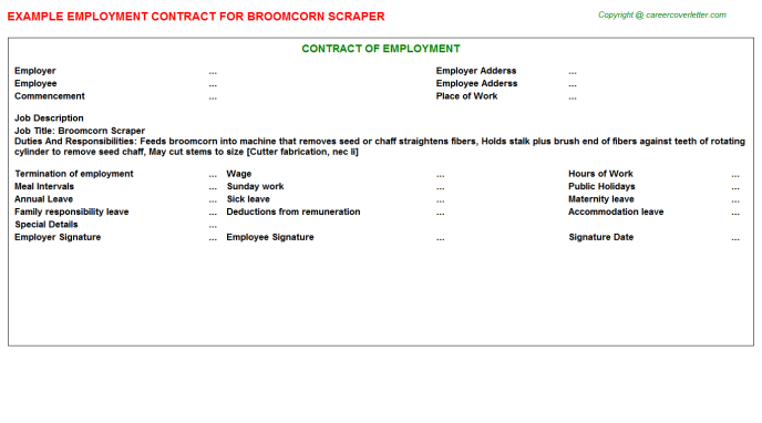 broomcorn scraper employment contract