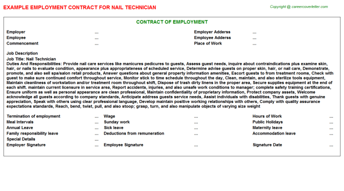 Nail Technician Employment Contract Template