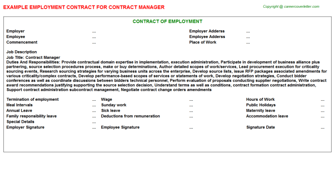 Contract Manager Employment Contract Template