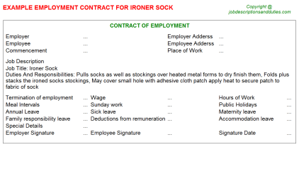 Ironer Sock Job Employment Contract Template