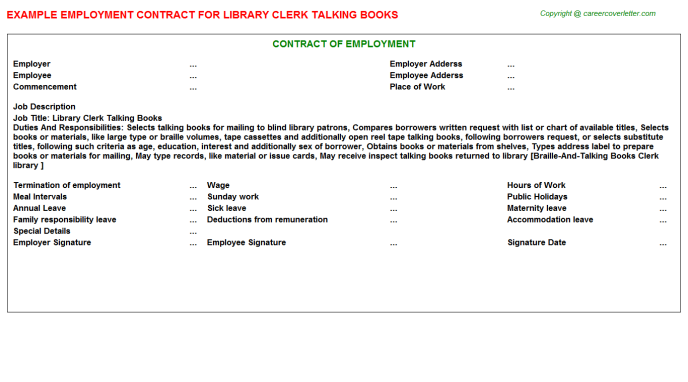 Library Clerk Talking Books Employment Contract Template
