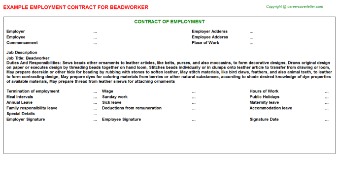 Beadworker Employment Contract Template