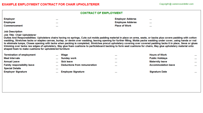 Chair Upholsterer Employment Contract Template