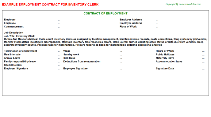 Inventory Clerk Employment Contract Template