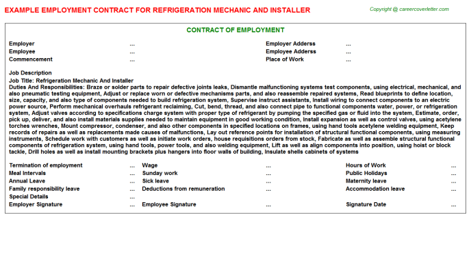 Refrigeration Mechanic And Installer Employment Contract Template