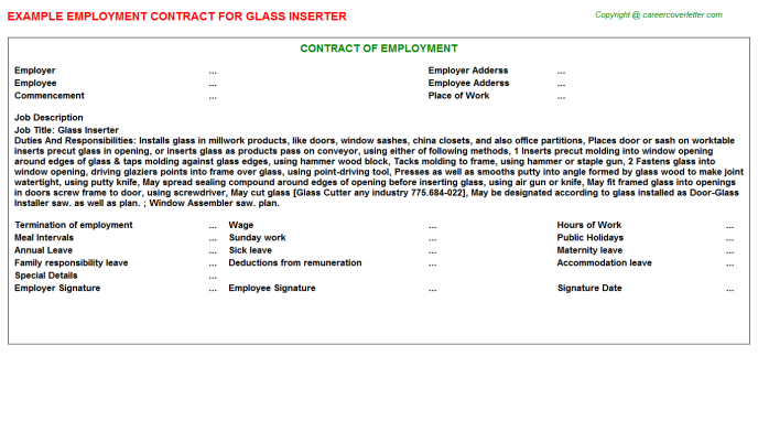 Glass Inserter Job Contract Template