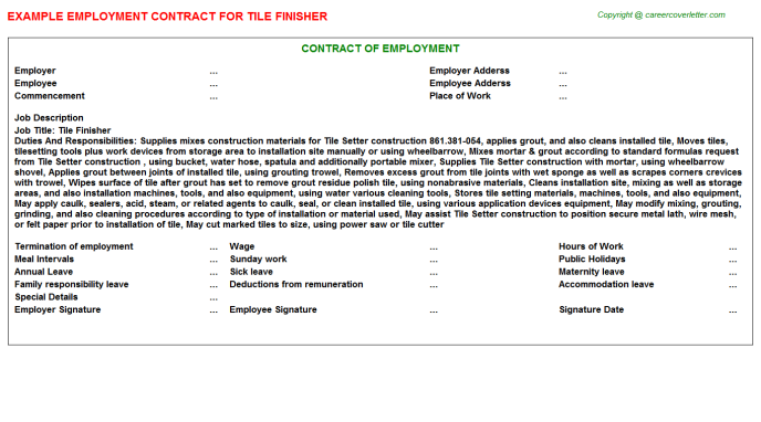Tile Finisher Employment Contract Template