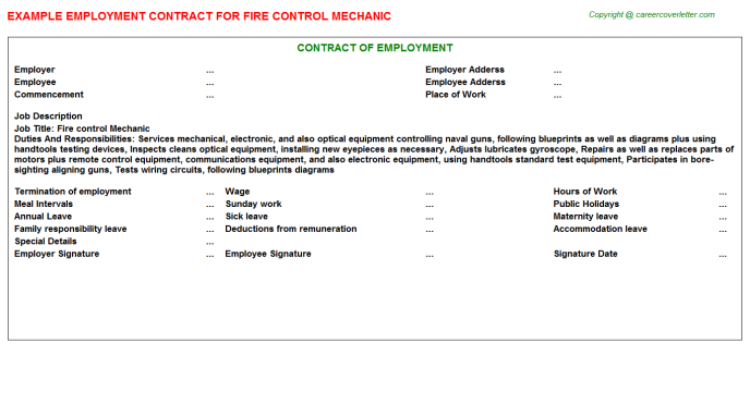 Fire Control Mechanic Employment Contract Template