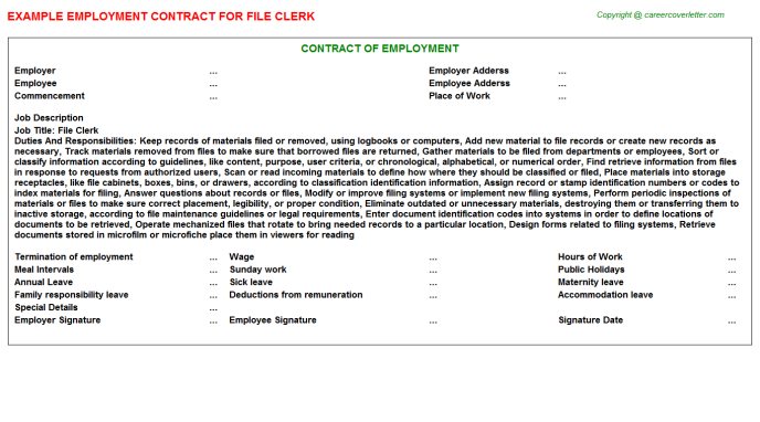 File Clerk Employment Contract Template