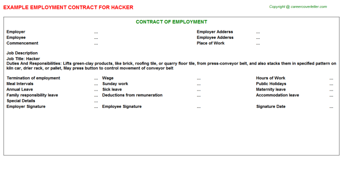 Hacker Employment Contract Template