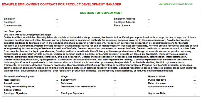 Product Development Manager Employment Contract Template
