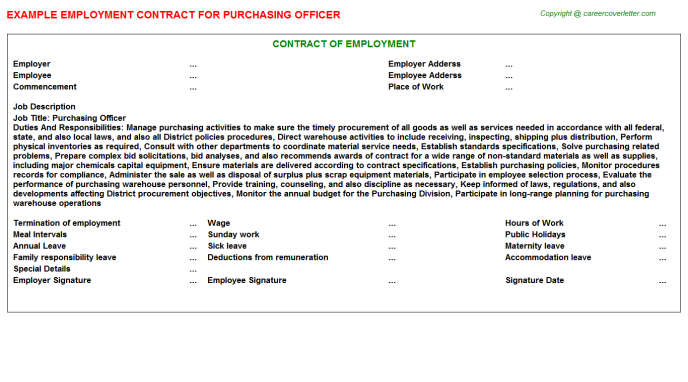 Purchasing Officer Employment Contract Template