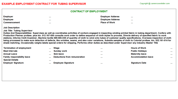 Tubing Supervisor Employment Contract Template