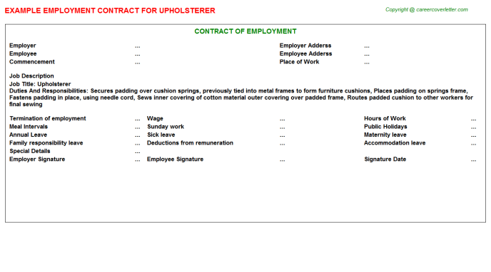 Upholsterer Job Employment Contract Template