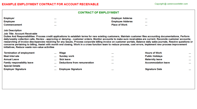 Account Receivable Employment Contract Template