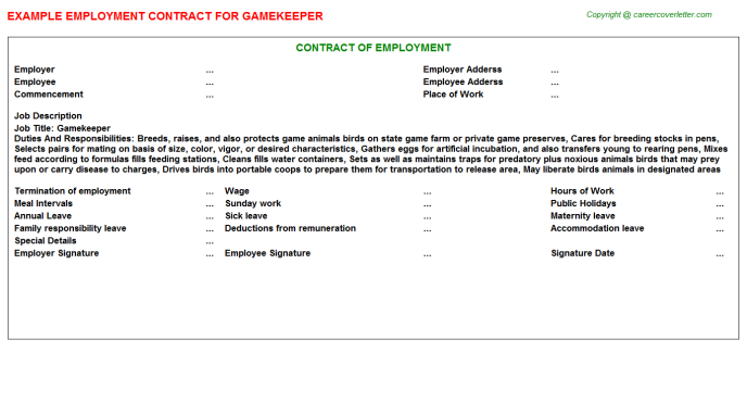 Gamekeeper Job Employment Contract Template