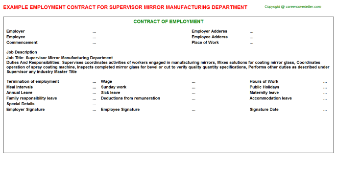 Supervisor Mirror Manufacturing Department Employment Contract Template