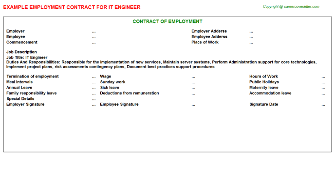 IT Engineer Employment Contract Template