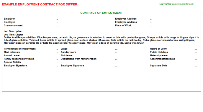 Dipper Employment Contract Template