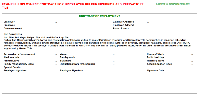 Bricklayer Helper Firebrick And Refractory Tile Employment Contract Template