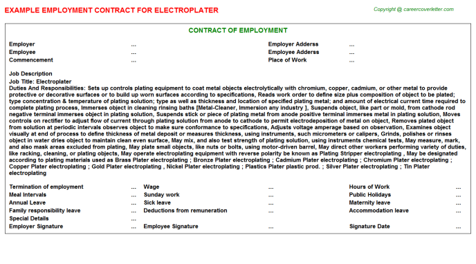 Electroplater Employment Contract Template
