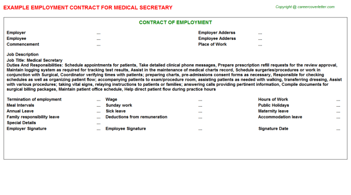 Medical Secretary Employment Contract Template