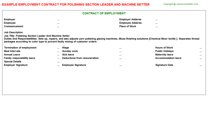 Polishing Section Leader And Machine Setter Employment Contract Template