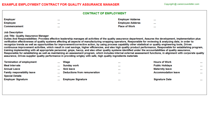 Quality Assurance Manager Job Employment Contract Template