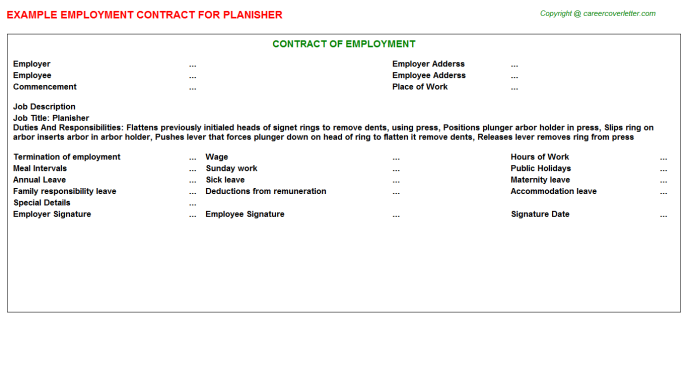 Planisher Job Employment Contract Template