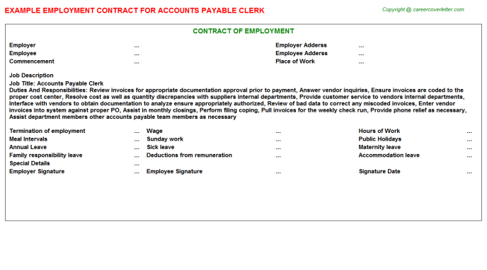 Accounts Payable Clerk Employment Contract Template