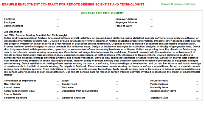 Remote Sensing Scientist And Technologist Employment Contract Template