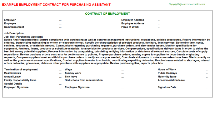 Purchasing Assistant Employment Contract Template