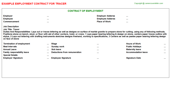 Tracer Job Employment Contract Template