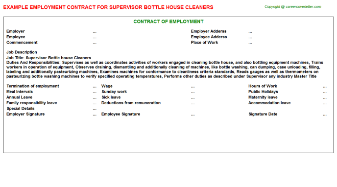 supervisor bottle house cleaners employment contract template