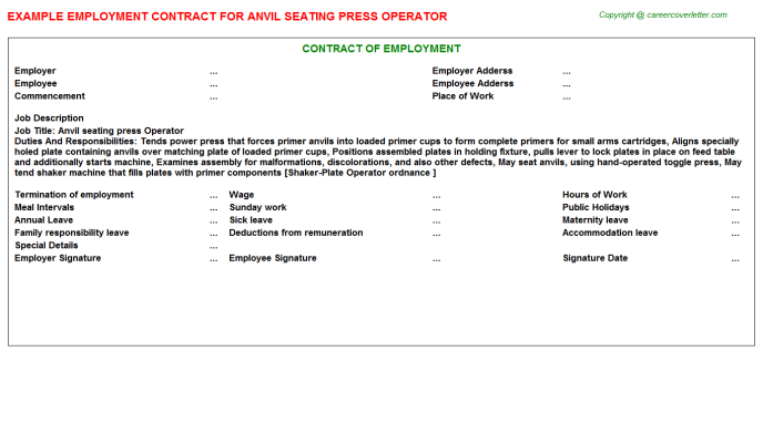 Anvil Seating Press Operator Employment Contract Template