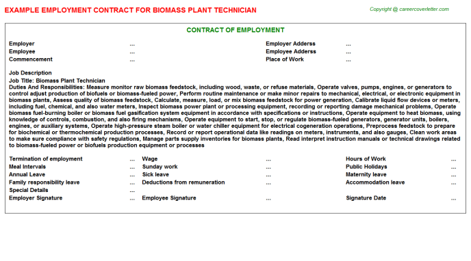 Biomass Plant Technician Employment Contract Template