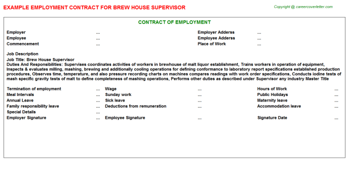 brew house supervisor employment contract template