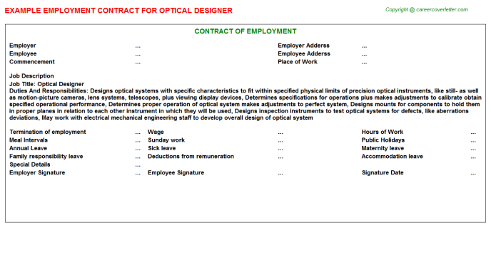Optical Designer Employment Contract Template