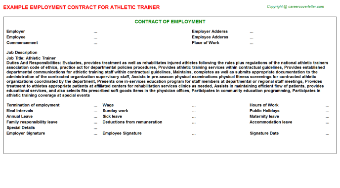 Athletic Trainer Employment Contract Template