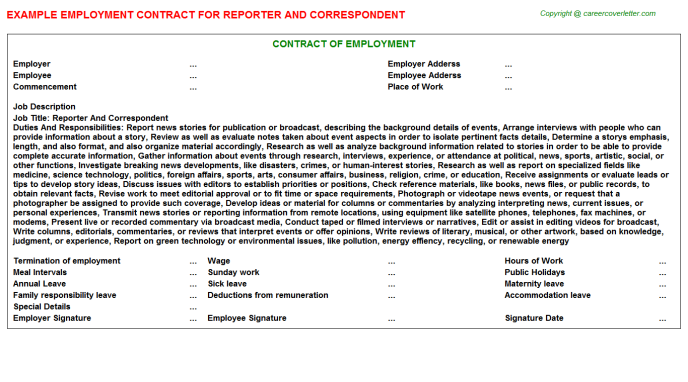 Reporter And Correspondent Employment Contract Template
