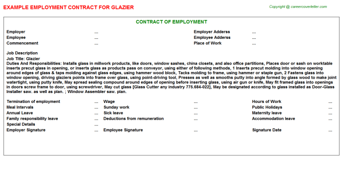 Glazier Employment Contract Template