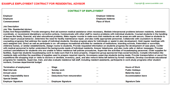Residential Advisor Employment Contract Template