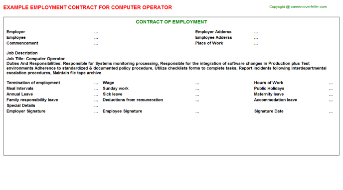 Computer Operator Employment Contract Template