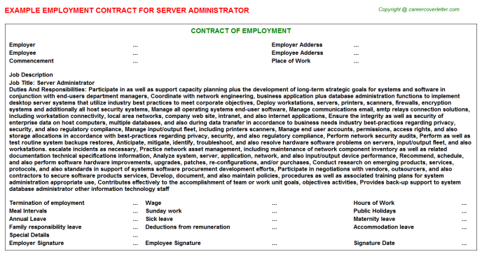 Server Administrator Employment Contract Template