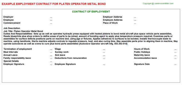 platen operator metal bond employment contract template