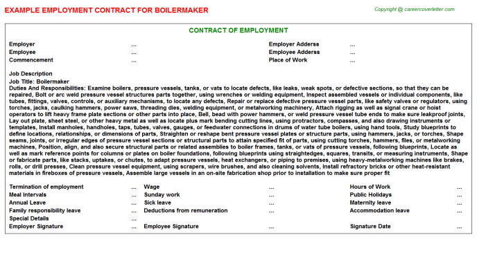 Boilermaker Job Employment Contract Template
